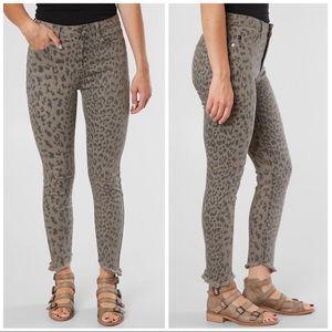 KanCan Leopard Print Skinny Ankle Fringe Jean 30